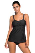 黑色褶皱抹胸两件套保守泳装