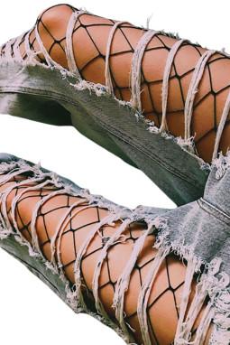 性感迷人花卉图案网眼修身连裤袜