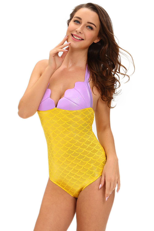 黄色小美人鱼泰迪服装贝壳胸部拼色连体衣舞台装 LC89002