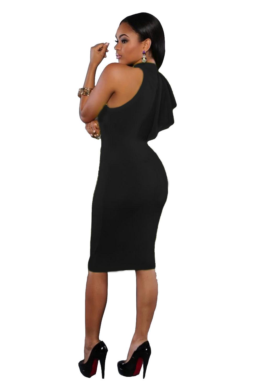 黑色高领单肩荷叶边皱褶修身迷你连衣裙 LC61094