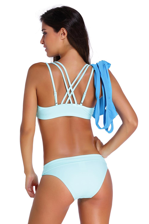 浅色文胸裤子蓝色背心三件套分体泳装 LC41996