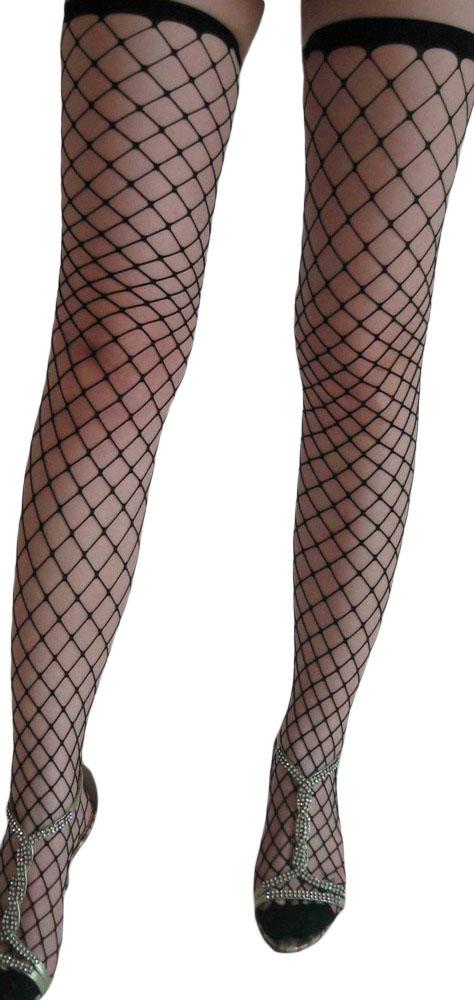 黑色网眼高筒丝袜 LC7905