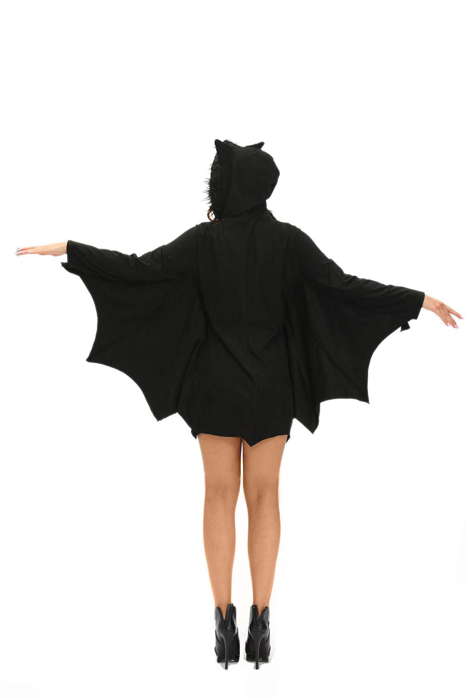 万圣节制服黑色蝙蝠性感连帽圆领长袖诱人舞台服装 LC8978
