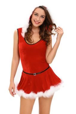 大码圣诞节连帽无袖可拆卸裙摆圣诞连体衣
