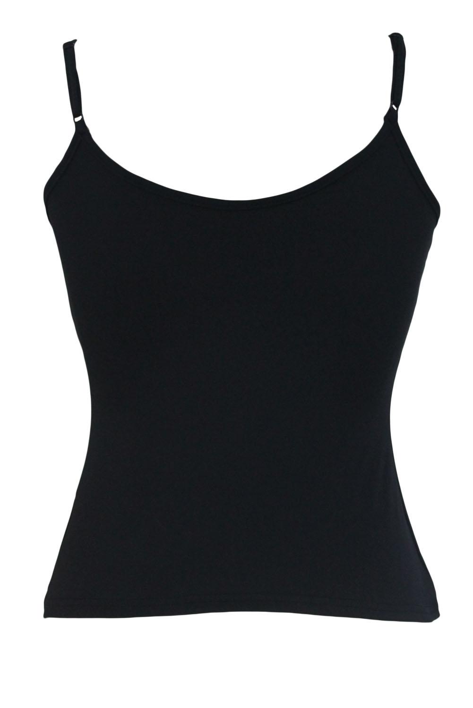 黑色吊带交叉线条设计无袖修身简单百搭上衣 LC25829