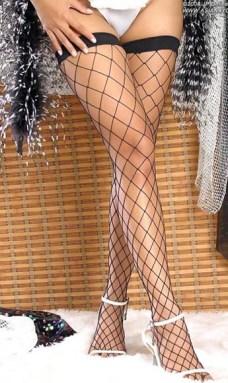 黑色网眼高筒丝袜