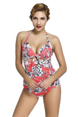 花卉印花红色复古高腰2件套泳装