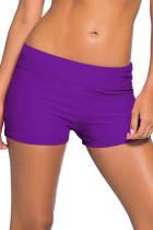 紫色宽腰泳装短裤