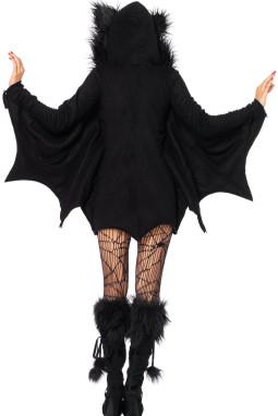 万圣节制服黑色蝙蝠性感连帽圆领长袖诱人舞台服装