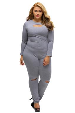 灰色大码裂缝长袖连身裤