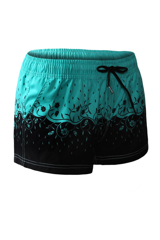 绿色花卉图案女生游泳短裤 LC410280