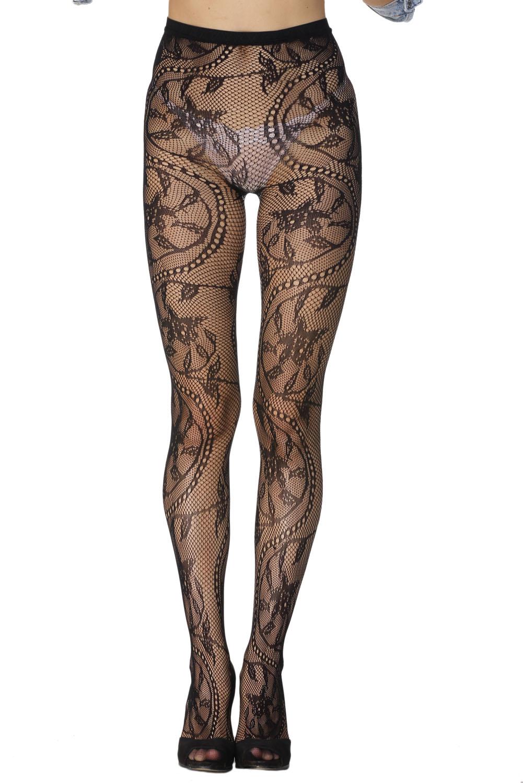 迷人花卉图案网眼感修身瘦腿连裤袜 LC79594
