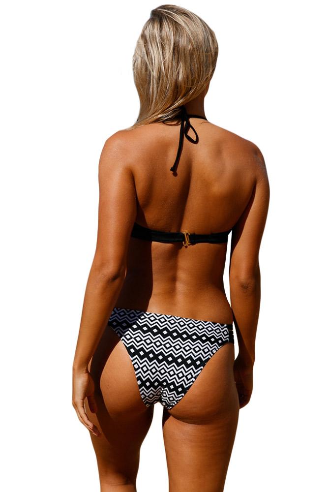 黑白抹胸挂脖系带几何图案带钢托带胸垫分体泳装 LC410181