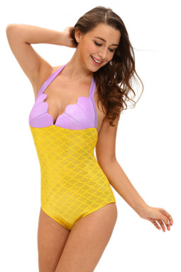 黄色小美人鱼泰迪服装贝壳胸部拼色连体衣舞台装