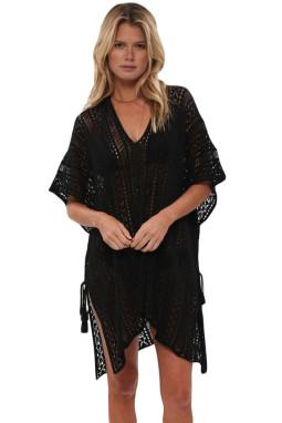 黑色钩针编织侧边绑带沙滩罩衫