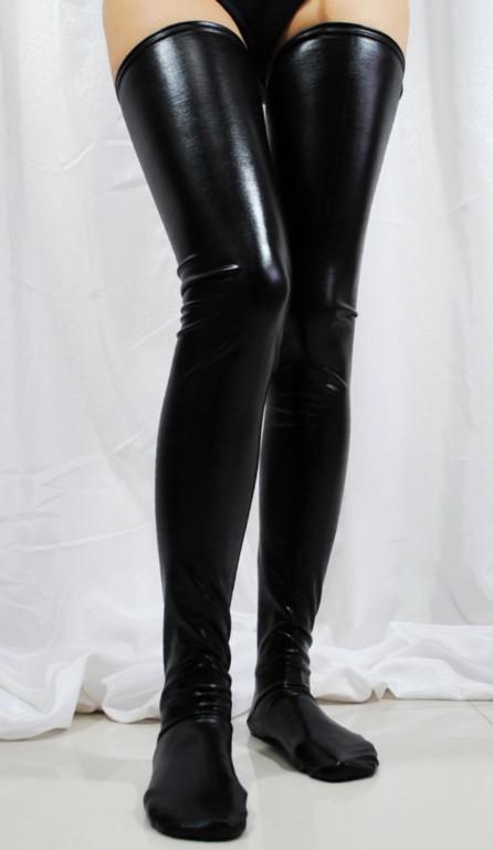 黑色仿人造革紧身高筒丝袜 LC7796