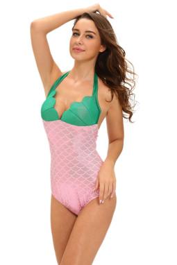 粉色小美人鱼泰迪服装贝壳胸部拼色连体衣舞台装