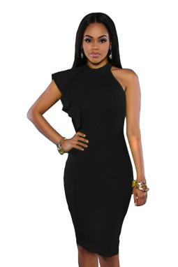黑色高领单肩荷叶边皱褶修身迷你连衣裙