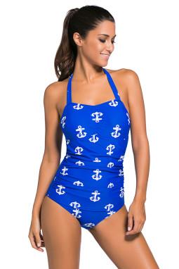 蓝色复古印花性感挂脖低胸褶皱修身连体泳装