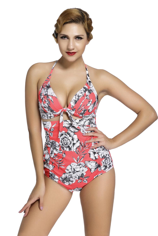 花卉印花红色复古高腰2件套泳装 LC41874