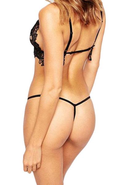 黑色蕾丝钩针内衬性感丁字裤 LC75089