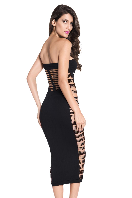 性感抹胸无袖镂空网洞女士中长款睡衣 LC60378