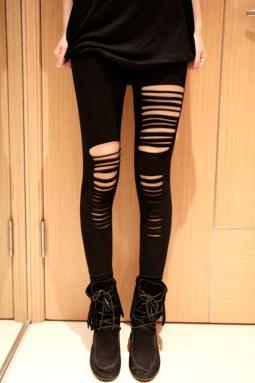 黑色性感缕空条纹时尚九分打底裤