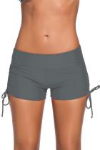 灰色两侧可调节系带游泳短裤