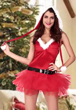 圣诞装无袖低胸性感游戏夜店演出制服