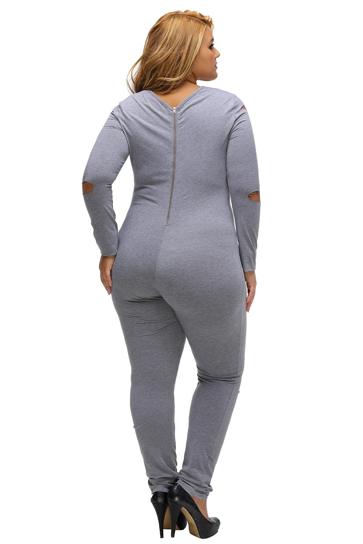 灰色大码裂缝长袖连身裤 LC64212
