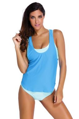 浅色文胸裤子蓝色背心三件套分体泳装