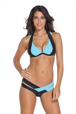 黑蓝拼色吊带性感镂空无钢托带胸垫比基尼分体泳装