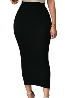 黑色高腰紧身长款半身裙