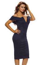 深蓝色无袖抹胸性感露肩包臀高腰及膝连衣裙