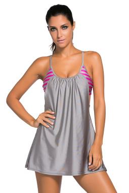 灰色吊带无袖露背飘逸裙摆单件泳衣