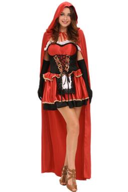 万圣节角色扮演夜连帽斗篷童话小红帽服装三件套