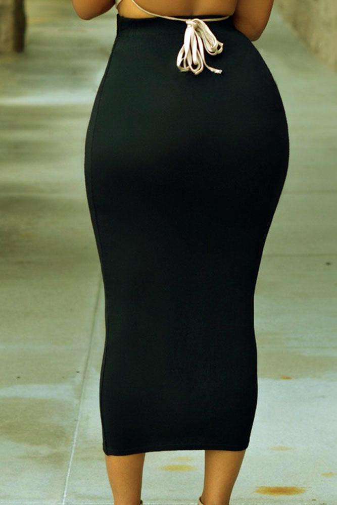 黑色高腰紧身长款半身裙 LC71188