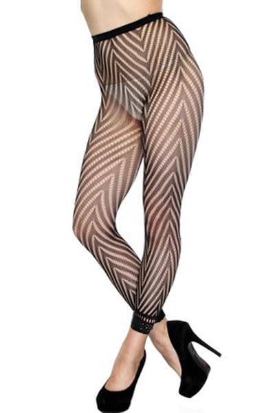 性感十足时尚鱼网袜紧身无缝提花高腰九分连裤袜 LC79912