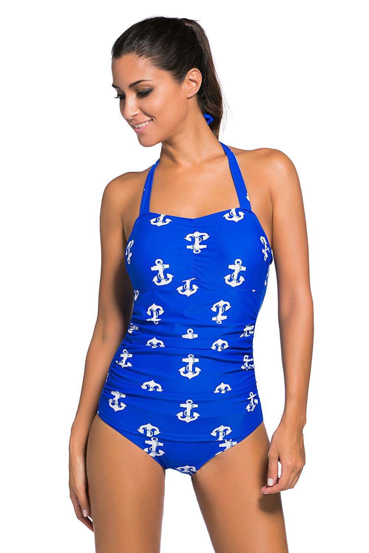 蓝色复古印花性感挂脖低胸褶皱修身连体泳装 LC41924
