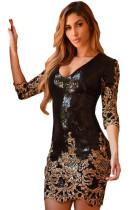 金色独特亮片设计圆领七分袖修身包臀连衣裙