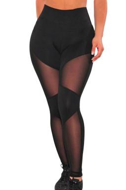 黑色健身房运动瑜伽裤网状拼接透气紧身裤