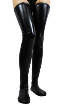 黑色仿人造革紧身高筒丝袜