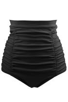黑色经典高腰游泳短裤