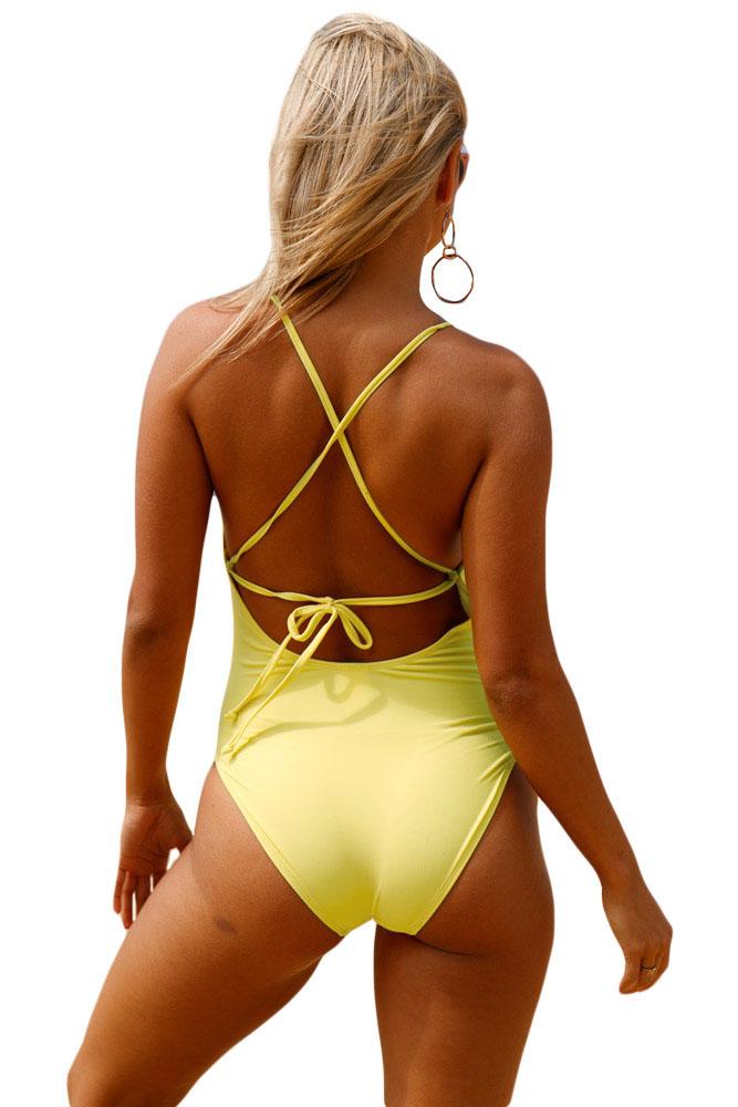 黄色钩针前面镂空细节一件式泳衣 LC410196