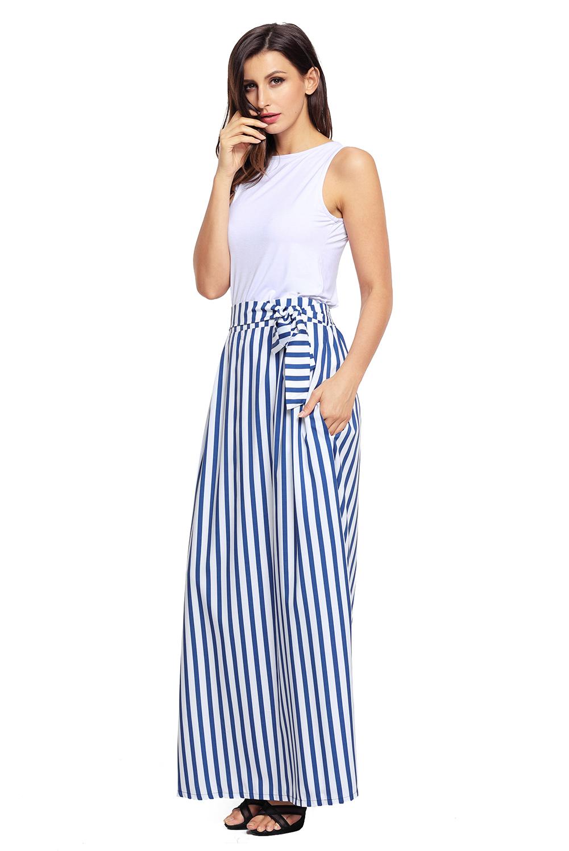 浅蓝色高腰条纹不可拆卸腰带波西米亚长裙半身裙 LC65037