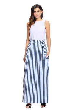 浅蓝色高腰条纹不可拆卸腰带波西米亚长裙半身裙