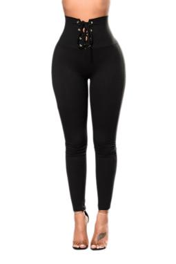 黑色显瘦高腰性感系带紧身打底裤