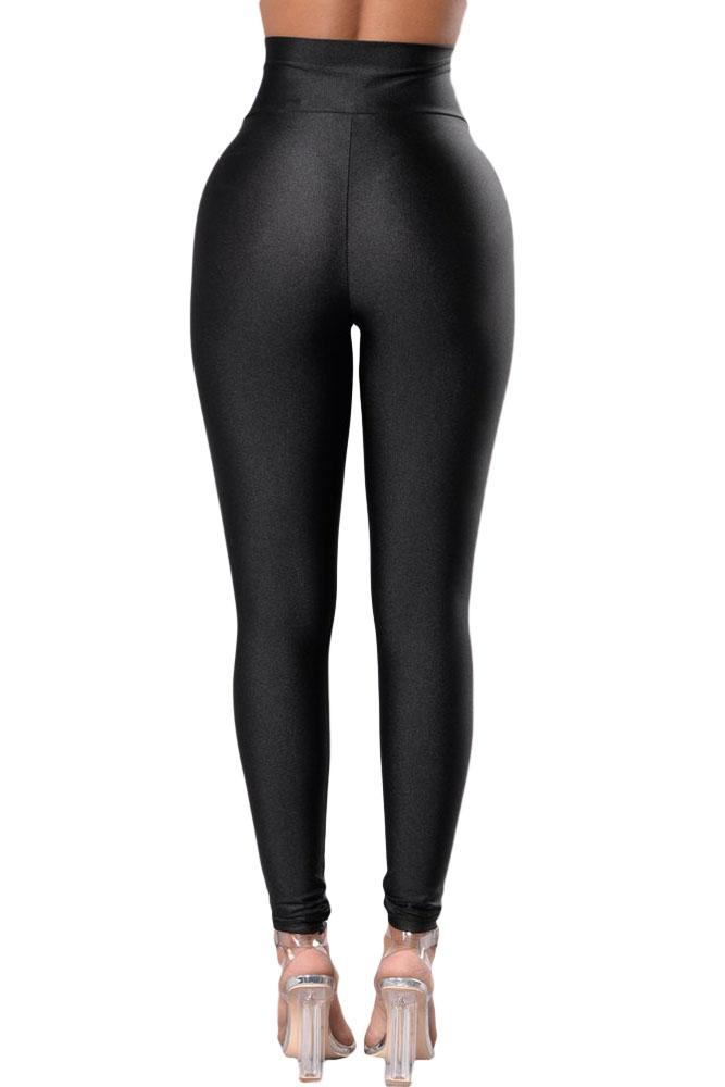 黑色高腰提臀显瘦紧身打底裤 LC79944