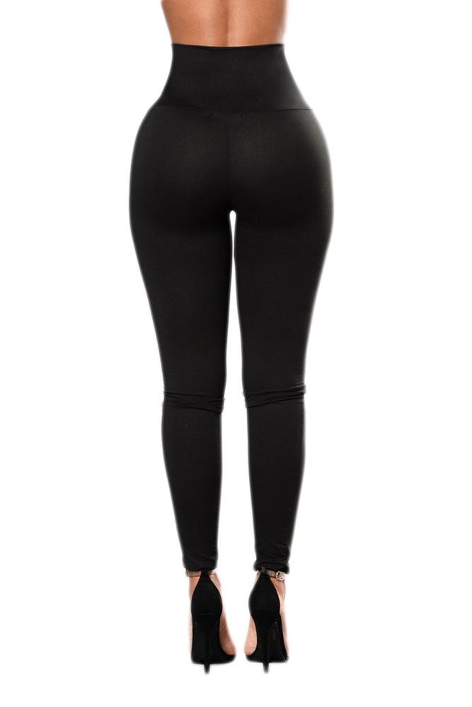 黑色显瘦高腰性感系带紧身打底裤 LC79946