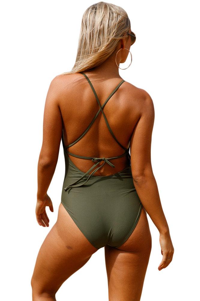 军绿色钩针前面镂空细节一件式泳衣 LC410196